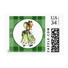 Vintage Irish Girl St.Patrick's Day Postage Stamp
