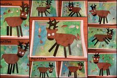 shape collage reindeer with watercolor backgrounds - good for grade Christmas Art Projects, Winter Art Projects, School Art Projects, Kindergarten Art, Preschool Art, Art 2nd Grade, Classe D'art, Art Lessons Elementary, Primary Lessons