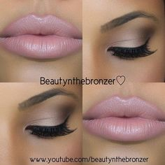 Soft brown eyeshadow and pretty pink lips. More