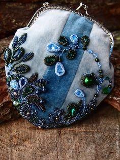 Черника - голубой,бархат,жемчуг,swarovski,хрустальный жемчуг,косметичка