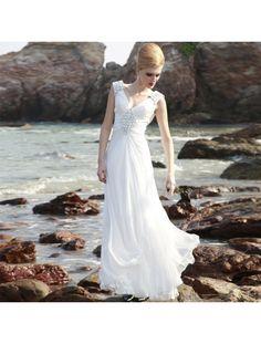 A-line / Princess V-neck Floor-length Artificial Silk Satin Wedding Dress - US$199.99