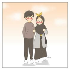 Love Cartoon Couple, Cute Couple Art, Cute Muslim Couples, Cute Anime Couples, Best Facebook Profile Picture, Muslim Pictures, Hijab Drawing, Cute Love Images, Islamic Cartoon