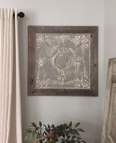 I made this piece of wall art from an old tin ceiling panel that I aged and framed in reclaimed wood. Diy Wall Art, Wall Art Decor, Metal Ceiling Tiles, Industrial Industry, Tin Walls, Tile Crafts, Tile Projects, Ceiling Ideas, Decorative Tile