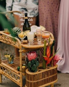 TROPICAL // toss back to this super fun tropical bridal shower!  We had so much fun creating this! . All the tropical vibes of the garden centre wicker and rattan furniture those florals and fun pops of pink...whats not to love!?!  . Our rattan bar cart adds such a great touch of whimsy and fun!  See more in stories from our tropical bridal shower brunch!  . @orangetrunk  @_gingersnapphotography  @goldenacregarden  @adorncalgary  @modernbake  @bellamorebeauty @debbiewongdesign… Bridal Shower Party, Bridal Shower Decorations, Jack Und Jill, Tropical Bridal Showers, Tropical Party, Bar Cart Styling, Tiki Party, Tiki Room, Shower Dresses