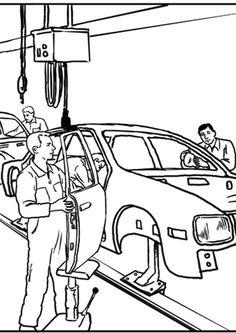 Bilde å fargelegge bilfabrikk. Barn lærer om bilfabrikk mens de fargelegger | Bilder til bruk i skole og utdanning - bil 7634.