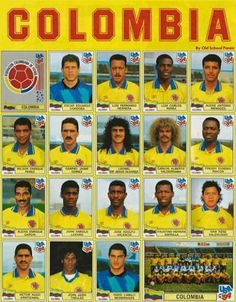 Colombia team stickers for the 1994 World Cup Finals. Best Football Team, National Football Teams, World Football, Football Match, Football Soccer, World Cup 94, World Cup Teams, World Cup Final, Carlos Valderrama