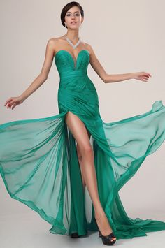 Hot Mermaid Sweetheart Sleeveless Court Train Red Green Pink Red Chiffon Slit Backless Women Evening Prom Dresses Prom Gown