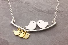 1-8 Kids mom necklace love birds necklace grandma by MegusAttic