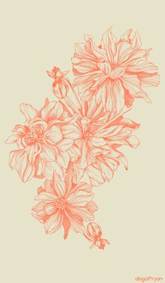 Abigail Ryan designer.  Tea-towel | Dahlia: Mango