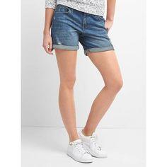Gap Women Denim Roll Shorts ($50) ❤ liked on Polyvore featuring shorts, dark indigo, petite, petite shorts, zipper shorts, ripped denim shorts, frayed denim shorts and destroyed shorts
