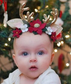 Your place to buy and sell all things handmade Newborn Christmas Photos, Baby Girl Christmas, Christmas Bows, Christmas Headbands, Antler Headband, Felt Headband, Stretchy Headbands, Newborn Headbands, Reindeer Headband