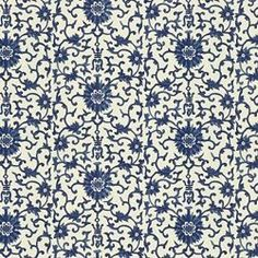 Coriander / Blue/White traditional-upholstery-fabric Calico