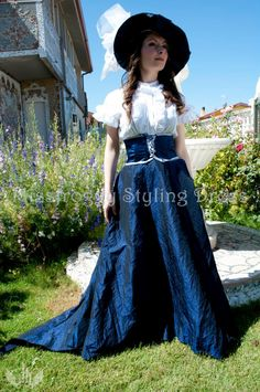 blue taffetàs Victorian theme  Clothing
