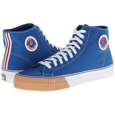 PF Flyers Center Hi Lace up casual Shoes ($55) ❤ liked on Polyvore featuring shoes, sneakers, studded lace-up wedge sneakers, wedge sneakers, breathable sneakers, wedge trainers and wedge heel shoes