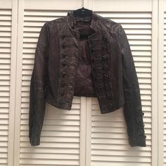 All Saints cropped leather jacket Amazing all Saints leather jacket with button details and leather stitching All Saints Jackets & Coats