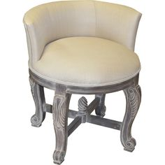 This European inspired vanity chair will accent your home decor stylishly with its muslin-woven upholstery, hand carved solid wood frame, and sandstone finish.
