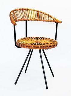 Dirk van Sliedregt; Enameled Metal and Rattan Easy Chair for Rohé Noordwolde, 1956.
