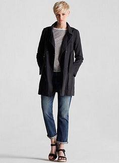 EILEEN FISHER - Coated Linen Jacket.