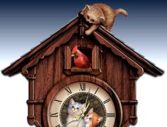 Moments Of Purr-fection Wooden Cuckoo Clock With Kittens - detail 1