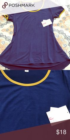 Small classic T NWT solid navy top with mustard yellow detail LuLaRoe Tops Tees - Short Sleeve