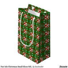 Fair Isle Christmas Small Gloss Gift Bag Small Gift Bag