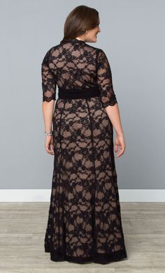 Curvalicious Clothes :: Plus Size Dresses :: Screen Siren Lace Gown Black/Nude