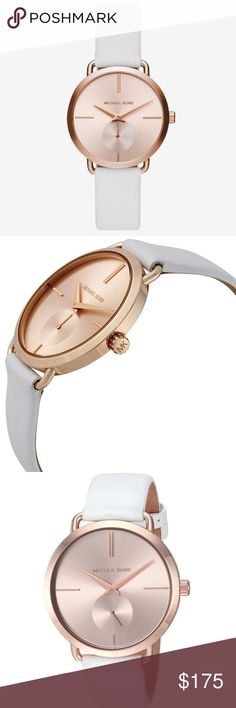 Michael Kors rose gold Portia white leather watch Authentic. Brand new with $195 tag. Comes in the original Michael Kors watch box with price tag, pillow, and authenticity card. Beautiful rose gold stainless steel face with a genuine leather white adjustable band. This watch is absolutely beautiful and looks great paired with bracelets. Michael Kors rose gold Portia white leather watch. Please see the last photo for additional details and features. 36 mm. Michael Kors Accessories Watches
