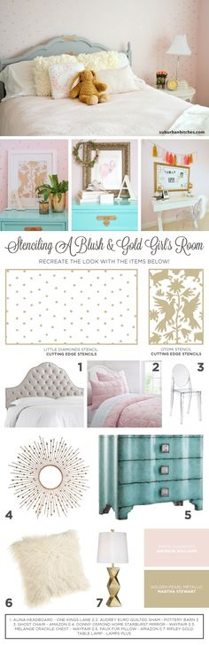 Recreate the look of this DIY blush and gold stenciled girl's room using the Little Diamonds Allover. http://www.cuttingedgestencils.com/little-diamonds-pattern-stencil-for-walls.html