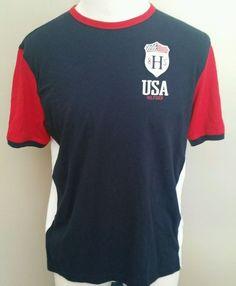 Men's Tommy Hilfiger Slim Fit Crewneck 85 USA Hilfiger Shirt Large #TommyHilfiger #crewneckshirt