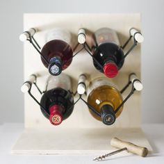 Make your own modern, minimal wine rack using plywood and leather.