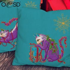 ***NEW RELEASE*** The Cat-i-tude Christmas Collection by Ann Lauer is the puurrrfect addition to your holiday decor! It also makes the puurrfect gift! Embroidery Online, Embroidery Designs, Machine Embroidery Projects, Classic Theme, Christmas Cats, Paisley, Ann, Kitty, Throw Pillows