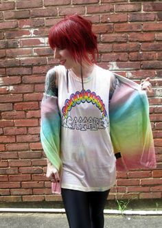 UNIF Don't Care Sleeveless Tee and Cake Cardigan, all at shopblacksalt.com. Rainbows and (Don't) Care Bears.