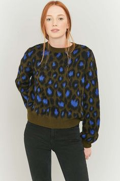 Urban Outfitters Green Animal Print Balloon Sleeve Jumper - Urban Outfitters
