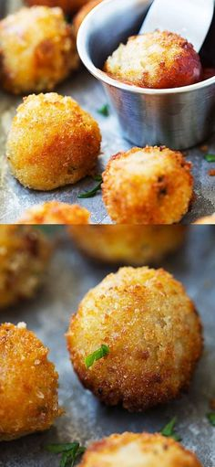 Mashed Potato Balls - crispy fried mashed potato balls loaded with bacon and cheddar cheese. The best recipe to use up leftover mashed potatoes. Potato Snacks, Mashed Potato Recipes, Snack Recipes, Cooking Recipes, Skillet Recipes, Cooking Gadgets, Pizza Recipes, Kitchen Gadgets, Appetizer Recipes