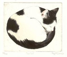 Original Cat Etching - Lu Lu - by Kay McDonagh