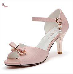 RUGAI-UE La mode des femmes d'été confortables sandales hauts talons,36 apricot