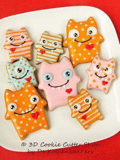 Monster Cookie Cutter Set van 3DCookieCutterShop op Etsy