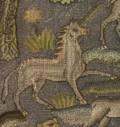 Unicorn from embroidery depicting Orpheus charming the animals with music. Early 17th century British. Silk and metal thread on canvas. L.14 1/2 xW.12 in. (36.8 x 30.5 cm) Rogers Fund, 1910 Accession Number: 10.126.13