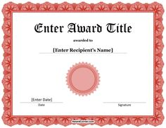 Blank award certificate template for word chose from several free red award seal certificate for microsoft word download the certificate in docx format at http yadclub Choice Image