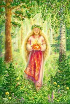 "mirelha: "" Messenger Of Light by ~rosinka "" Beautiful Fantasy Art, Beautiful Fairies, Russian Folk, Russian Art, Wicca, Heart Tattoo Designs, Ukrainian Art, Hippie Art, Visionary Art"