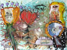 Kelly Moore - someone new to follow!  A little abstract, a little collage, and little little bits of a lot of fun!