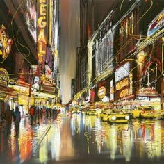 Shop a signed, limited edition boxed canvas by acclaimed cityscape artist Paul Kenton, entitled The fast Lane at Treeby & Bolton. New York Painting, Time Painting, Amazing Drawings, Cool Drawings, Urban Landscape, Landscape Art, Paul Kenton, Cityscape Art, A Level Art
