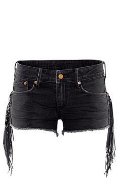 PU Leather Tassel Decorated Black Denim Shorts
