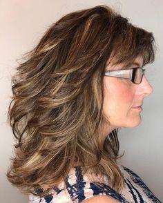 Medium Layered Haircuts, Medium Hair Cuts, Medium Length Hair Cuts With Layers, Thick Hair With Layers, Layered Haircuts Shoulder Length, Bobs, Thick Coarse Hair, Hair Styles For Women Over 50, Haircut For Thick Hair