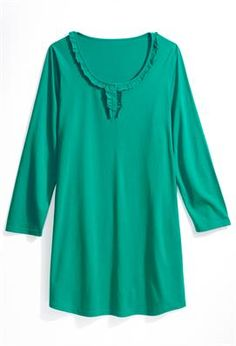Teal Ruffle Front Henley Sleep Shirt | Plus Size Sleep & Loungewear | Avenue