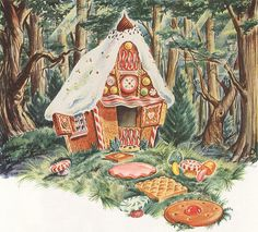 Vintage illustration of a gingerbread house