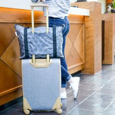 Do you have check out with more than you checked in? The RuMe cFold includes a back sleeve that slips over the handles of your rolling luggage, preventing it from tumbling off as you dash to and around the airport. It zips down to one-tenth its expanded size, so you can store it tidily on the shelf when you get home.