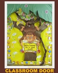 Classroom Door with Monkey theme, article has jungle/zoo art + craft ideas