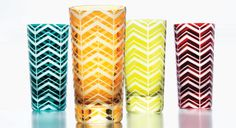 The Herringbone highball glasses by Artel are a vivid interpretation of the classic weave. The crystal glasses are shown in peacock, amber, olive, and red, and come in several other sizes and colors.    Artel's Herringbone highball glasses, $150 each, 646-216-9415; artedona.com #registry