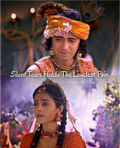 Silent tears holds the loudest pain💔 Radha Krishna Songs, Krishna Hindu, Cute Krishna, Lord Krishna Images, Radha Krishna Pictures, Radha Krishna Photo, Krishna Photos, Radha Radha, Shiva